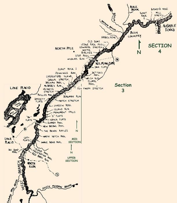 River Map by Francis Better's-West Br. AuSable